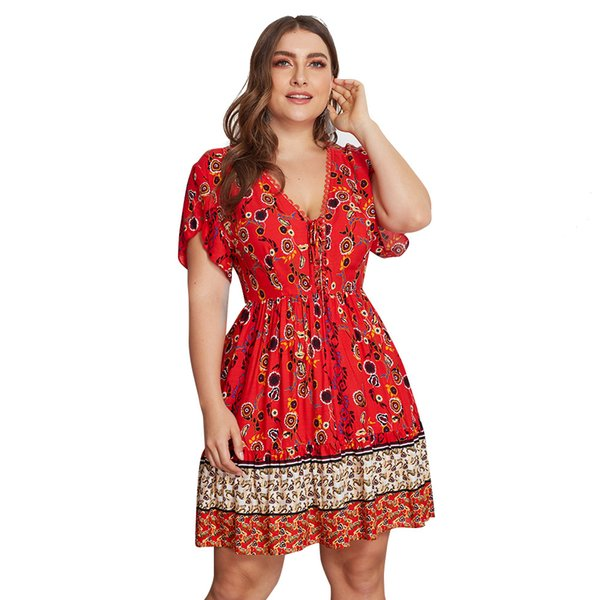 Boutique Women Clothing Plus Size Dresses Floral Print Lace V Neck Short  Sleeve Summer Dress 4XL One Piece Wholesale Hot Selling Short Party Dresses  ...
