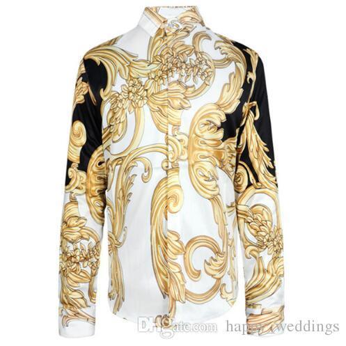 CALDO 2017 autunno inverno Harajuku Medusa catena d'oro / rosa canina camice di stampa di moda retrò da uomo maglione floreale manica lunga camicie