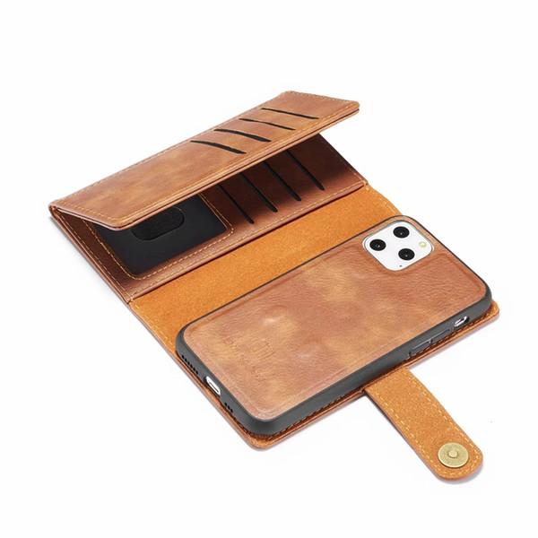 3 раза 2in1 съемный кожаный чехол для iphone 11 XR XS MAX X 8 7 6 Galaxy S10 S9 Note 10 9 Слот для магнитной съемной откидной крышки