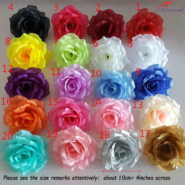 50pcs/lot 10cm Artificial Silk Rose Flowers Heads Diy Wedding Flower Wall Arch &pillar Crafts Scrapbooking Accessories Flores J190706