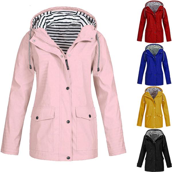 New women's rain Solid jacket outdoor waterproof pilot jacket hoodie windproof coat hiking rain camping fishing clothing 3.16 Y190919
