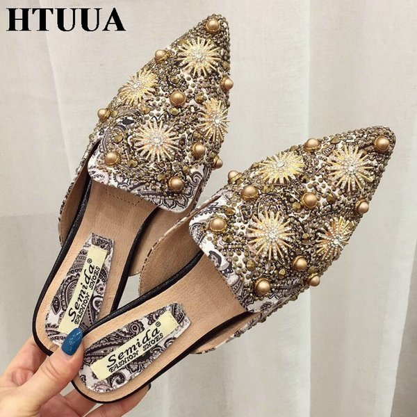 HTUUA New Spring Summer Pointed Toe Mules Shoes Women Slippers Boho Flat Heel Slides Summer Flip Flops Ladies Sandals SX2225