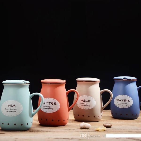 Vintage keramische Milchschale mit Löffel niedlich Bauch Tasse Bone China Kaffeetasse kreative Geliebtschale mit Wasserflasche 400ml Abdeckung Trinken