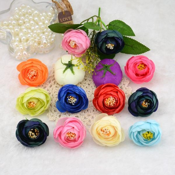 100 unids / lote 4 cm rosa cabezas de flores de seda artificial pequeño brote de té para la boda decoración flores Headmade Scrapbooking accesorios Y19061103