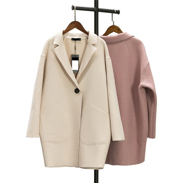 Frauen Wollmantel Herbst neue Kaschmir Größe dünne Jacke 2018 Frühling mediun lange einfarbige weibliche Kaschmir-Oberbekleidung DT0170