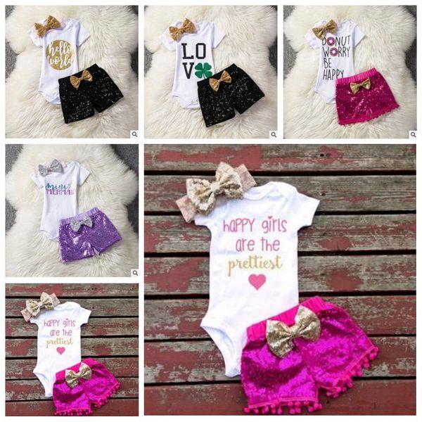 Kids Designer Clothes Girls Birthday Clothing Sets Baby Rompers Sequins Shorts Headband Suits Boys Jumpsuits Pants Shorts Hariband B5866
