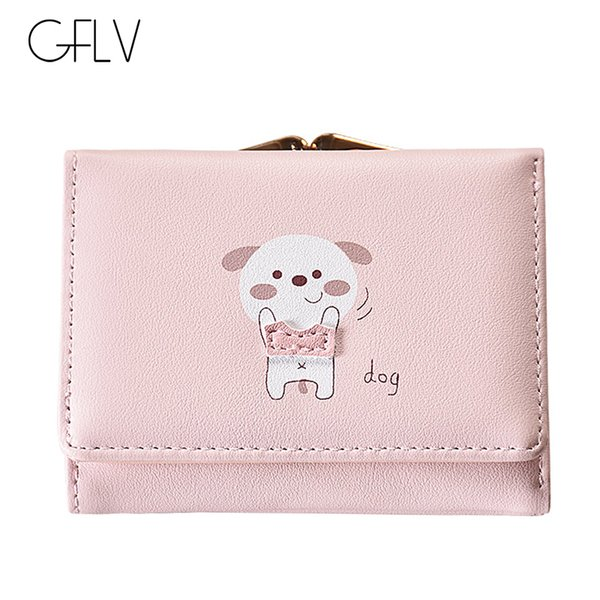GFLV Brand Sweet Cute Animals Short Wallets Women Cartoon Dogs Foxes Small Wallets Metal Clip Coin Pocket Card Holder