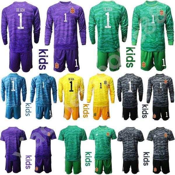 Youth David De Gea Jersey Set Kids Spain Goalie Long Sleeve Soccer 1 Iker Casillas 23 Pepe Reina 13 ARRIZABALAGA Football Shirt Kits
