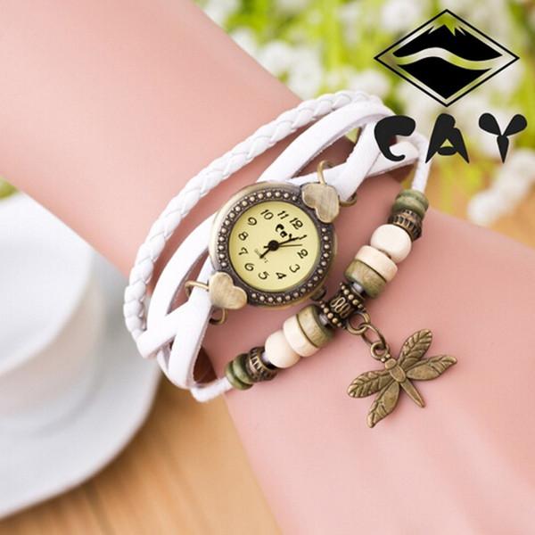 Braccialetto del vestito delle donne della vigilanza di lusso orologi moda 2019 Gifts Antique Dragonfly Bracciale Donna mano Anello orologio da polso di compleanno