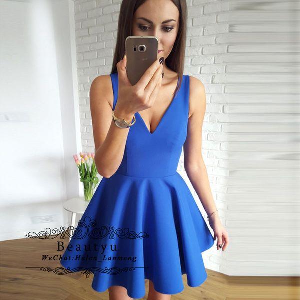 Cheap Short Prom Dresses 2019 A Line V Neck Mini Satin Vestidos de fiesta Arabic Dubai Formal Party Gowns Blue Girls Homecoming Dress