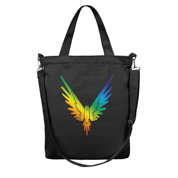 Women Fashion Large Shopper reusable Shopping Bag-Logan Paul Online video Rainbow color Design Canvas Tote Bag Shoulder Bags Black
