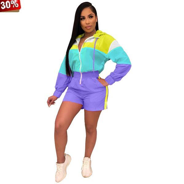 Rompers Womens Jumpsuit Shorts 2019 Summer Colorful Patchwork Zipper Up Long Sleeve Hooded Short Jumpsuit Women Playsuit Romper
