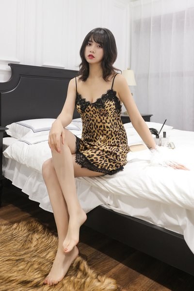sexy vogue nightgown leopard lace strapless sleepshirt nightwear home cloth sleepwear