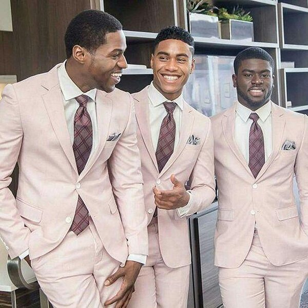 Light Pink Mens Suits For Wedding Casual Elegant Man Jacket Custom Made Blazer For Business Prom Classic Male Tuxedos 2 Pieces