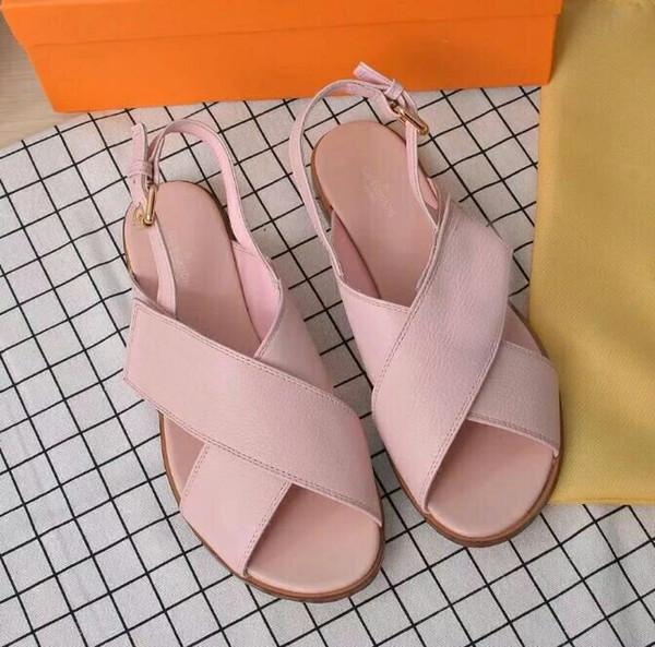Yeni marka düz sandalet özel teklif bayanlar rahat ayakkabılar moda çapraz tasarım yaz plaj deri sandalet