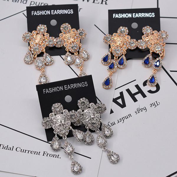 Women Lion Head Luxury Earring Rhinestone Waterdrop Long Stud Earring for Gift Party Multi Color Epacket Shipping