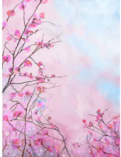 5x7FT Spirng Light Pink Flowers Branch Plum Buds Custom Photo Studio Backdrops Backgrounds Vinyl 220cm x 150cm