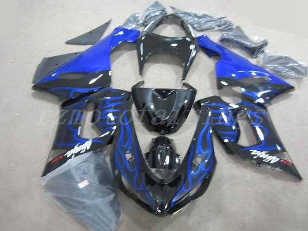 3Gifts New ABS motorcycle bike Fairings Kits Fit For kawasaki Ninja ZX6R 636 2005 2006 05 06 6R 600CC body set custom blue flame