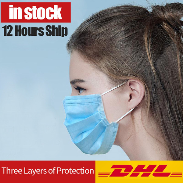 disposable face mask 3 layer ear-loop dust mouth masks cover 3-ply non-woven disposable dust mask soft breathable outdoor part home use comf