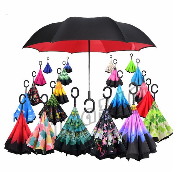Newest Windproof Reverse Umbrella Folding Double Layer Inverted Rain Umbrella Self Stand Inside Out Rain Protection C-Hook Hands I479