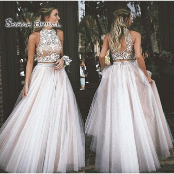 top popular 2019 Simple Long Champagne Tulle A-Line Bride Dress Sexy Two Pieces Evening Wear Formal Gown High-end Wedding Boutique 2020