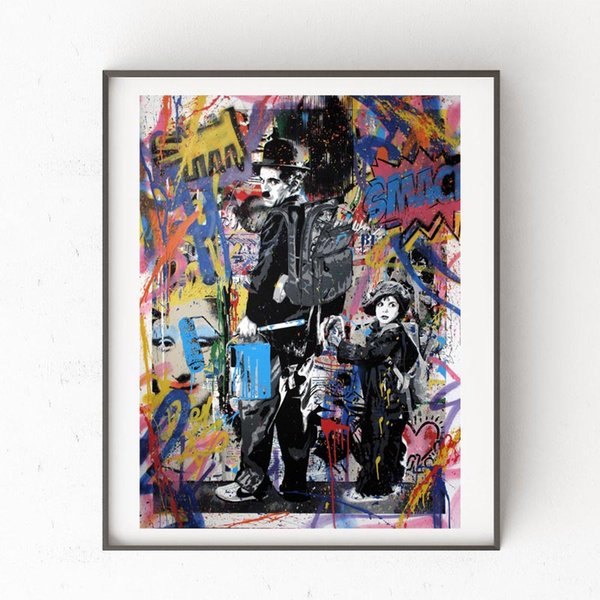 Mr Brainwash Gold Rush Graffit Portrait Canvas Painting Wall Picture Poster And Print Decorative Home Decor