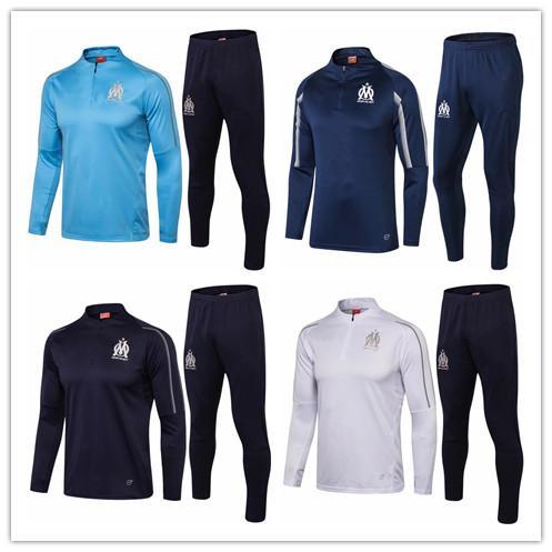 Top Quality 2018 2019 Marseille Soccer jersey tracksuit sweatshirt and long pants survetement 18 19 Marseille football Training suit Set