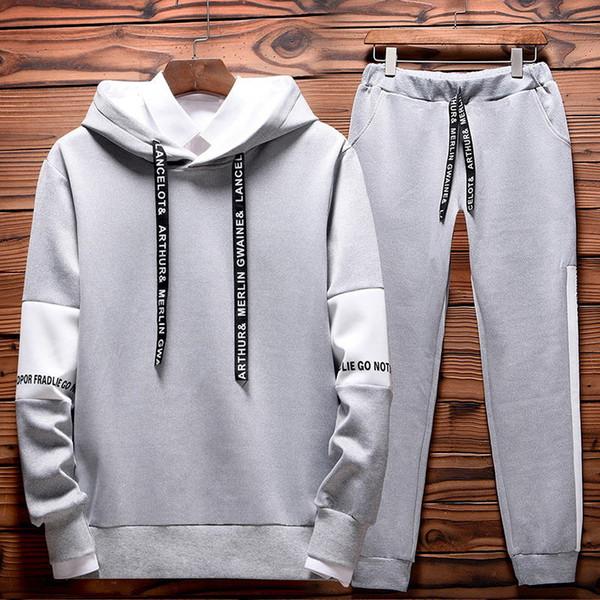 Nagelneue Mann-Sets Mode-Herbst-Frühling Sportanzug Sweatshirt + Jogginghose Herrenkleidung 2 bessert Satz-dünne mit Kapuze Anzug