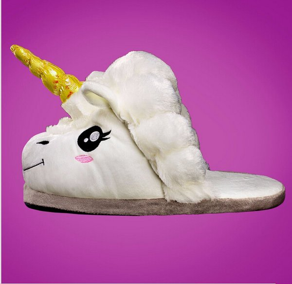 Chinelos de Pelúcia Unicórnio Adulto Engraçado Chausson Licorne Inverno Quente Sapatos Casa Interior Para Homens Pantoufle Licorne