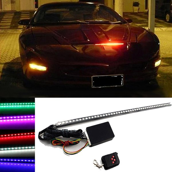 56 centimetri RGB 48LED auto Scanner Knight Rider Strobe Flash Light Strip + Remote