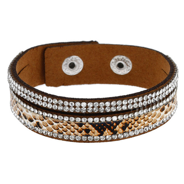 fashion jewelry crystal snakeskin wrap bangles casual trendy style 5 colors long leather bracelets for women