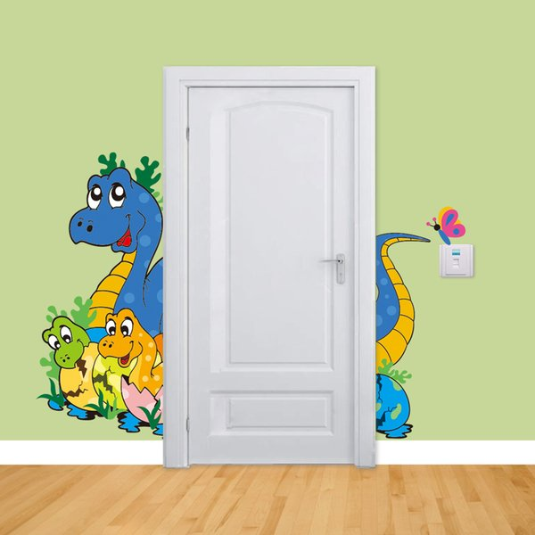 Cartoon Dinosaur Mother and Baby Wall Decals PVC Large Multicolor Animals Wall Mural Sticker for Kids Room and Nursery Decoration