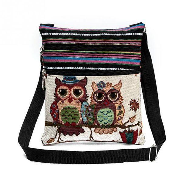 Cheap Hot Sale Cartoon Owl Print Messenger Bags Canvas Female Shoulder Bags Double Zipper Women Mini Flap Shoulder Handbags #919