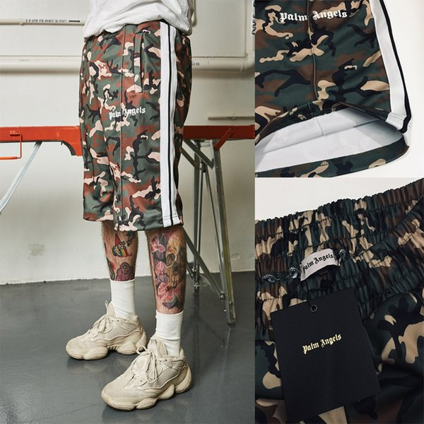 19SS Palm Angels Shorts Camouflage 1a: 1 Top Version Palm Angels Track Shorts Kanye West paura del dio Palm Angels Shorts con coulisse