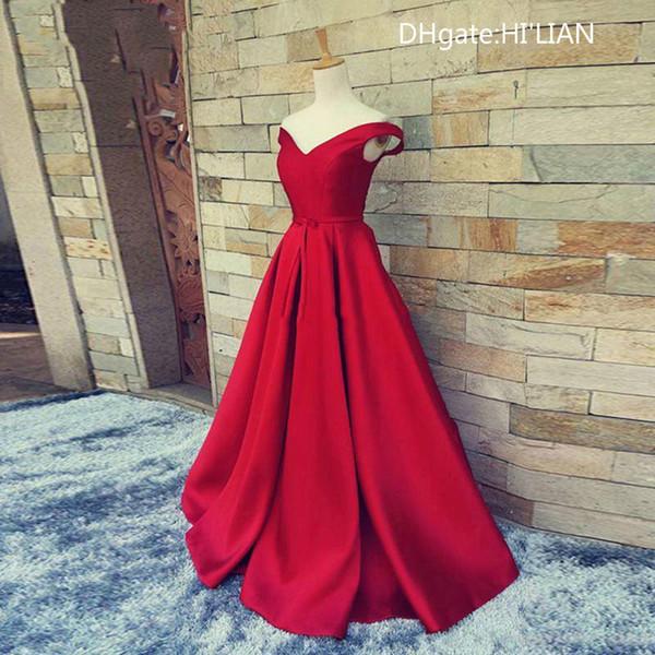 Moda Com Decote Em V Vermelho Aberto Para Trás Uma Linha Longa Noite Vestido de Festa Elegante Prom Vestidos Vestido De Festa Ocasião Formal Personalizado Plus Size