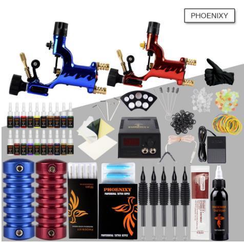 Máquina de Tatuagem completa Kit 2 Rotary Tattoo Machine Gun Set 20 Conjunto de Tinta de Cor LEVOU fonte de Alimentação Tatuagem Body Art Set Pigmento Maquiagem