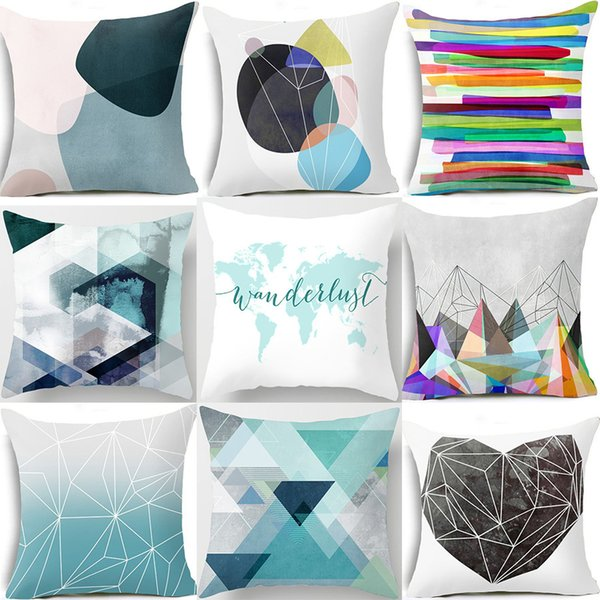 Throw Pillow Covers.Pillow Case 45 45 Cushion Cover Geometric Blue Polyester Cushions For Sofa Throw Pillow Covers Home Decor Pillow Cover Waterproof Cushions For Garden