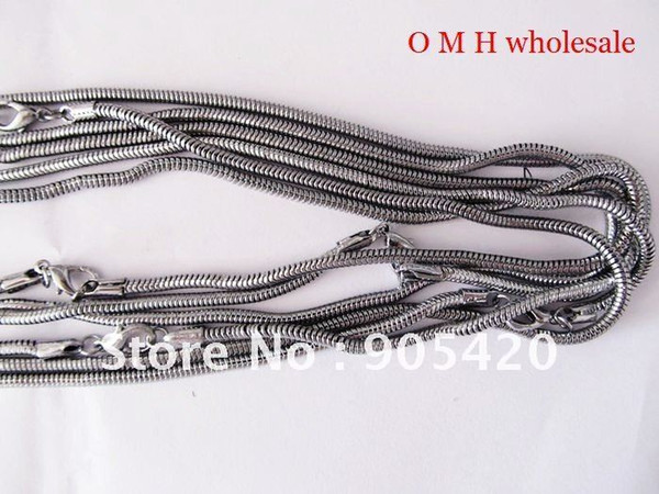 OMH wholesale Free ship 1pcs 46cm jewelry wholesale silver Nickel plating Chains Man women necklace Snake Chains Necklaces