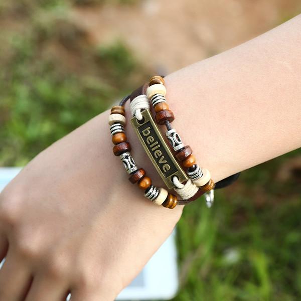 Multi-layer beads of beaded leather bracelet adjustable lobster buckle retro beaded bracelet believe word alloy Inspirational bracelet