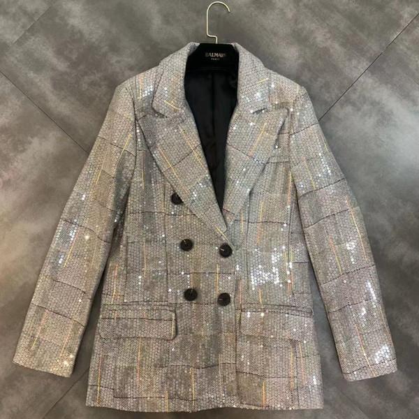 2019 principios del otoño nueva solapa de manga larga a cuadros de trabajo pesado lentejuelas chaqueta de traje