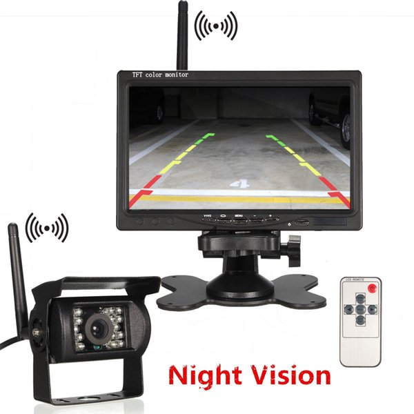 7 inch Wireless Car Monitor LCD display screen with 18 LED Night Vision Rear View reverse Parking Camera for Truck car dvr