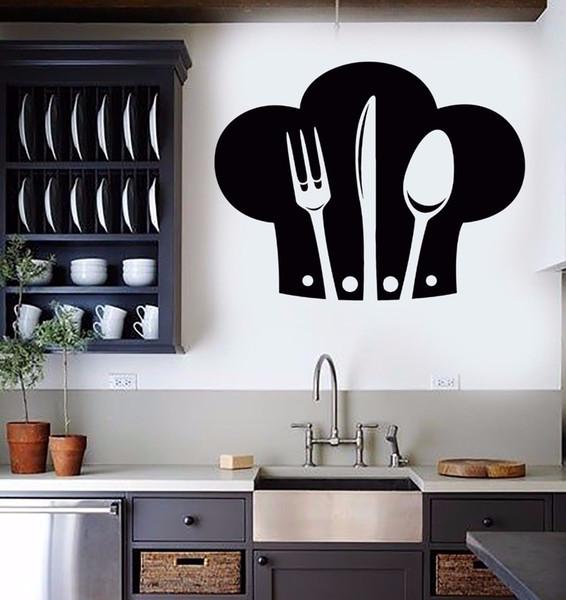 Vinyl Wall Decal Removable Chef Hat Cutlery Wall Sticker Restaurant Kitchen  Interior Design Art Decor Kitchen Wallpaper Best Wall Decals Best Wall ...