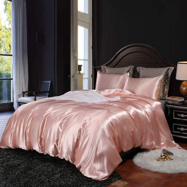 Luxo 2019 Venda Imitação De Seda 3 Pcs Capa de Edredão Set Home Estilo Europeu Rosa Gêmeo Rainha Rei Conjunto de Cama Cor Sólida Rosa Capas de Edredão