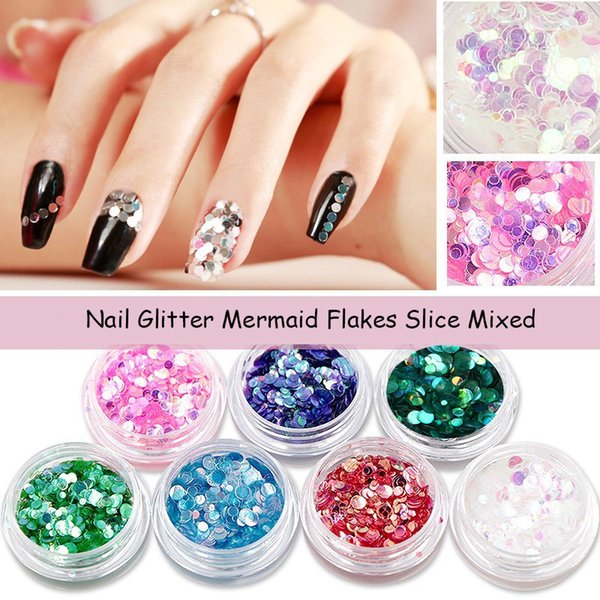 12pcs/Set Nail Art Mermaid Round Flakes Glitter DIY Decoration Sequins Nail Charms Stickers Chameleon AB Paillette Slice Mixed