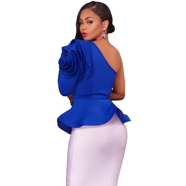 Fashion-Ruffles One Shoulder Fashion Blouse Shirts 2017 Autumn Elegant Black Blue Long Sleeve Peplum Blouses Slim Blusas Sexy Women Tops