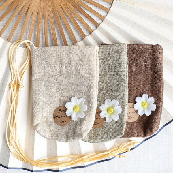 Cotton and Linen Empty Sachet Bag DIY Dried Flower Package Bag Wedding Party Gift Bag WB927