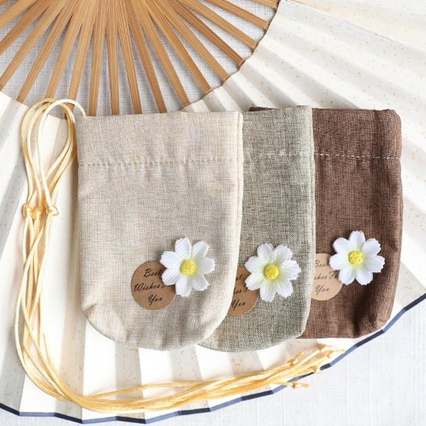 Pamuk ve Keten Boş Poşet Çanta DIY Çiçek Paketi Çanta Düğün Hediye Çanta WB927 Kurutulmuş