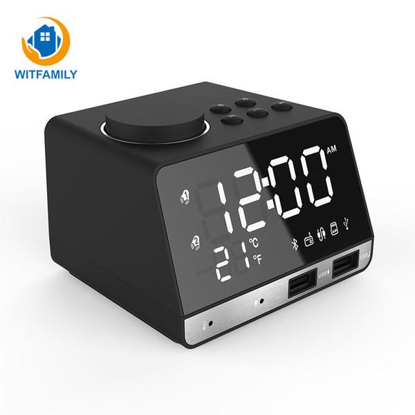 Bluetooth FM Radio desktop Clock Speaker Digital Alarm Clock Temperature 2 USB Ports LED Display Snooze Table mini
