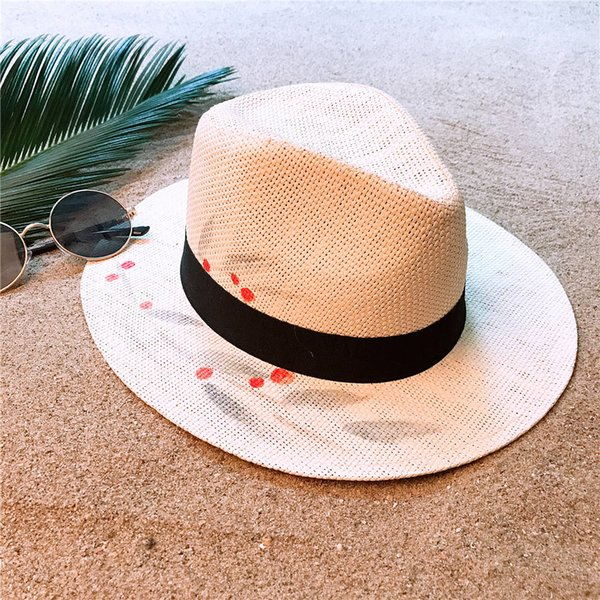 2019 Summer Straw Panama Hat For Women Wide Brim Beach Sun Hat With Hand-Painted Flower Sunbonnet Cap Size 58CM