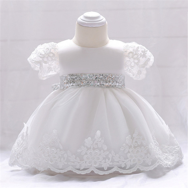 Baby girls party dress kids white lace embroidered short sleeve tutu dresses baby sequins bows princess dress girls birthday dresses